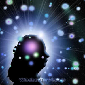 Woman face silhouette with many orbs around her head. In-depth reading.