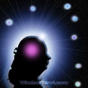 Woman face silhouette with orbs a few around her head. Basic Tarot reading.