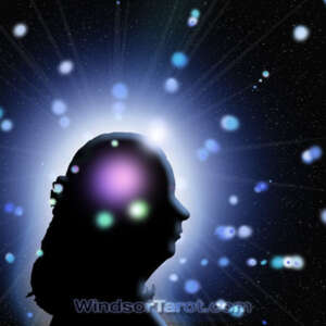 Woman face silhouette with orbs around her head. General reading.