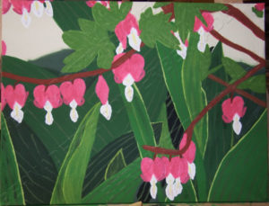 Painting of Bleeding Hearts. Adaptation from original photo of bleeding hearts flowers. Art.