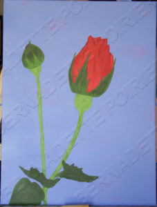 Painting of Rose Bud. Adaptation of original photo.
