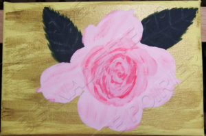 Painting of a Small Rose. Adaptation from original photograph. Art.