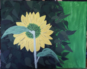 Painting of Back of Sunflower. Adaptation of original photograph of sunflower back in front of bush.