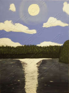 Painting of a Sunset at Bay Lake in Latchford, Ontario, September 2007.